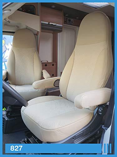 Maß Sitzbezüge kompatibel mit Wohnmobil Fahrer & Beifahrer Farbnummer: 827 (beige beige)