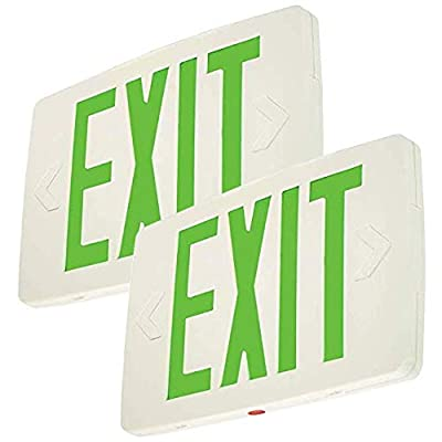 LFI Lights - Super Thin LED Exit Sign - Green LED - Battery Backup - Double Sided - LEDTGD