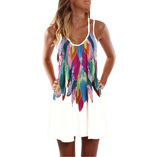 Moonuy Frauen Ärmelloses Kleid Weiblich Chiffon Sommerkleid Sommer Boho Casual Maxi Party Cocktail Strandkleid gedruckt