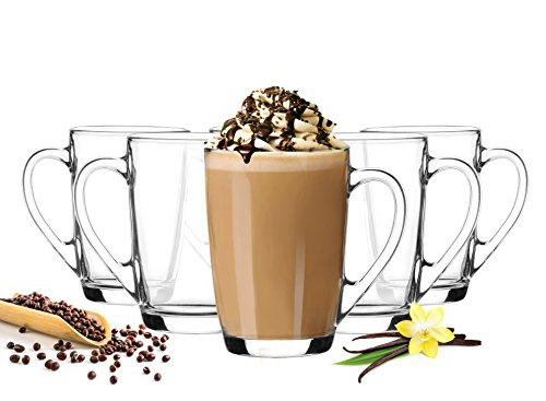 6 Kaffeegläser 300ml mit Henkel Kaffeebecher Teegläser Latte Macchiato Gläser