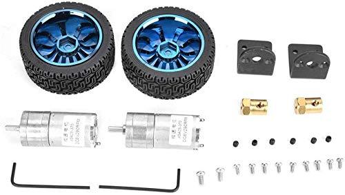 JJDSN Gear Motor, 2 pcs/Set 25GA370 DC DC 6V 280RPM Metal Gear Motor 4mm Shaft with Mounting Bracket 65mm Wheel Kits 0.9 Used in Smart Toy Car Robot Printer