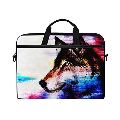 BEITUOLA 15-15.4 Zoll Laptop Taschen,Zeichnungswolf Auf Alter Papiervorlage,Verschiedene Muster multifunktionale Laptop Tasche tragbare Hülle Aktentasche Umhängetasche