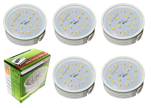 Trango 5 stuks ultra plat 5 Watt dimbare LED-module 5TGMO15SD 3000K warm wit voor het vervangen van GU10 & MR16 halogeenlampen, voor inbouwlampen, plafondlampen, spots