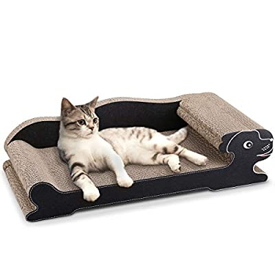 Docamor Cat Scratcher Lounge Bed - 23.6 inches Recyclable Corrugated Scratching Pad Scratch-Resistant Bed Sofa for Cat