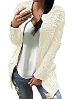 sayahe Women's Classic Long Relaxed-Fit Mid Thickening Open Beaded Front Beige OS