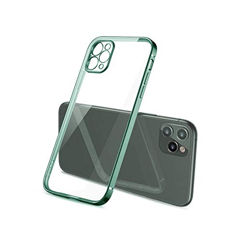 Luxury Classic Plating Frame Phone Case for iPhone 7 8 Plus XR XS X 11 Pro 12 Mini Max SE2020 Transparente Suave Silicona Cover-Midnight Green-for for iphone 11Pro