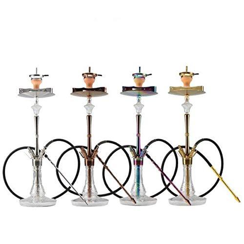 The Hookah HANZO Premium Shisha Set - Designer Edelstahl Wasserpfeife - Komplettset mit 4 Anschlüssen - Shisha Geschenkset - für Zuhause und Unterwegs - erhältlich in 4 Farben, GOLD