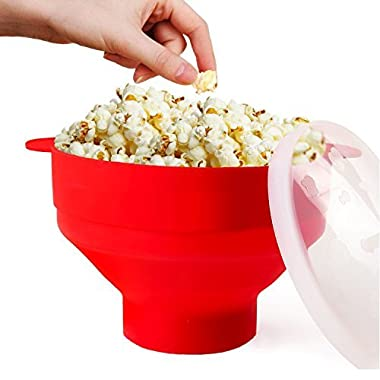 Microwave Popcorn Popper Collapsible Popcorn Maker Bowl with Lid and Convenient Handles BPA Free Silicone