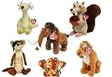 TY Beanie Babies Ice Age Set of 5 - Scrat Manny Sid Diego Buck and Dino Kids Sticker