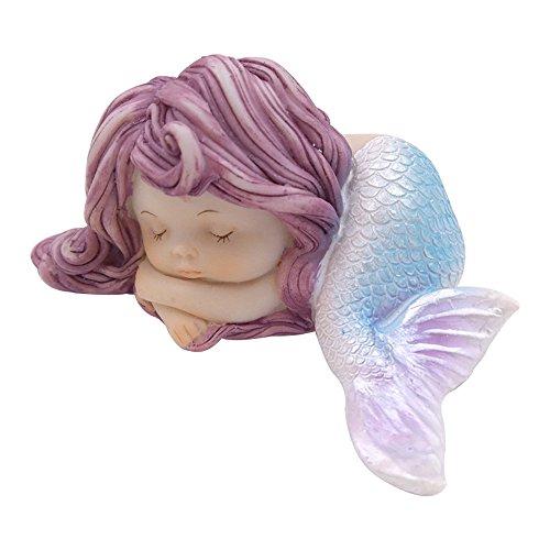 LSHCX Resin Sleeping Little Mermaid Statue for Miniature Fairy Garden covid 19 (Mermaid Aquarium Ornament coronavirus)