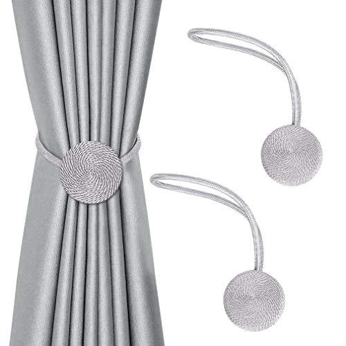 COOLPEEN Lot de 2 embrasses magnétiques pour rideaux décoratifs, corde de 38,1 cm, support moderne pour rideaux fins ou transparents (gris)