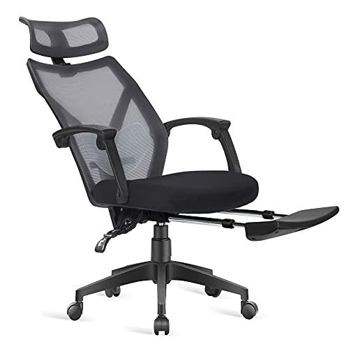 Dripex Chaise de Bureau Ergonomique roulante avec Repose Pieds Rétractable, Siège de Bureau Pivotante en Filet, Capacité de Charge 110 kg