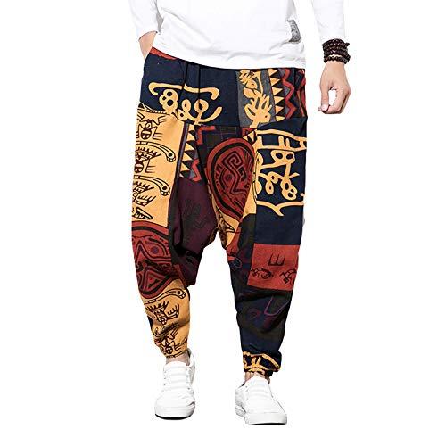 Mugoebu Pantalones hiphop para hombre, sueltos, de algodón y lino, estilo harén, bombacho, Aladino, con estampado retro y bolsillos, rojo, XXXL