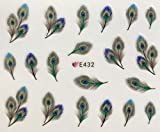 Pretty Peacock Feathers Decal Stickers Nail Art 3D