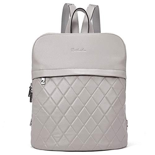 BOSTANTEN Women Leather Backpack Satchel Ladies School Rucksack Casual Travel Shopping Daypack for Outdoor Grey