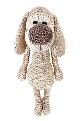 LOOP BABY - gehäkelter Hund Hansi in beige - gehäkeltes Kuscheltier für Baby/Mädchen/Junge aus Baumwolle