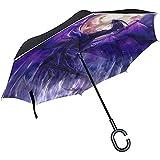 Elxf Paraguas invertido Las sillas navideñas mexicanas Paraguas inverso Protección UV A Prueba de Viento para el Coche Lluvia Sol Al Aire Libre Negro