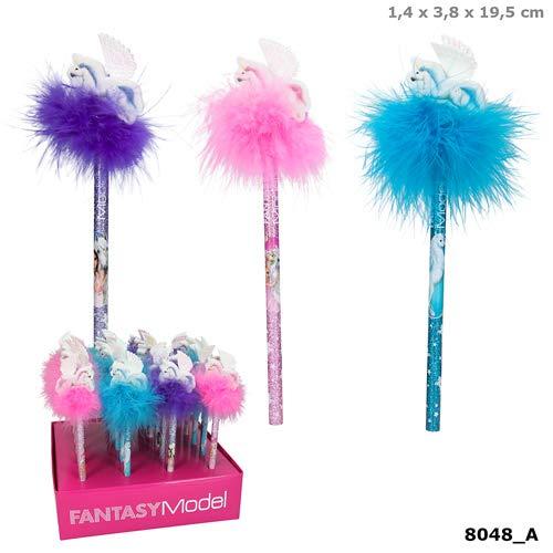Fantasy Model Bleistift mit Radiertopper und Federn lila Depesche Biz NEU