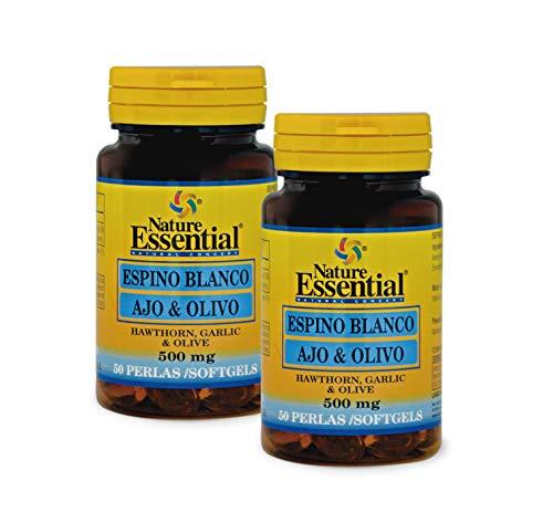 Nature Essential Espino blanco + ajo + olivo 500 mg - 50 perlas, Pack 2 unidades