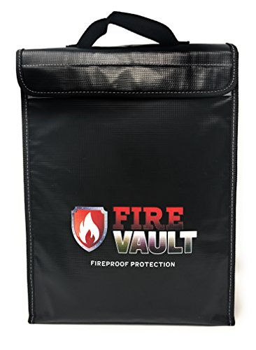 """Fireproof Document Bag 15""""x11""""x2.5"""" Zipper and Velcro Closure For Maximum Protection, Silicone Coated Fire and Water Resistant Money Bag. Store Money, laptops, passports, valuables."""