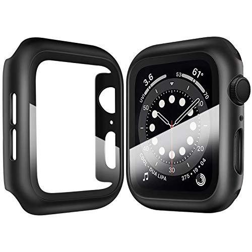 Deilin 2 Pack Hard PC Case with Tempered Glass Screen Protector Compatible Apple Watch Series 6/5/4/SE 40mm, Case for All Around Coverage Protective Bumpers Cover for iWatch Series 6 /5 /4 /SE 40mm