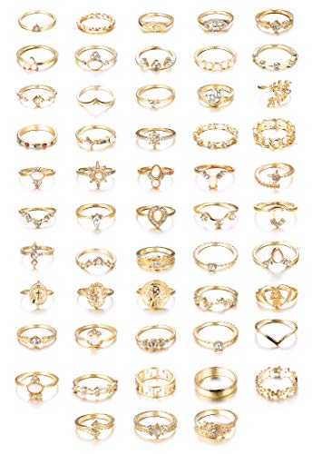 CASSIECA 53PCS Vintage Gold Knuckle Rings for Women Girls Stacking Finger Rhinestone Joint Ring Set Boho Jewellery