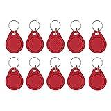Ticfox RFID Key Fobs- Alianthy 10pcs 13.56MHz RFID Tag Tarjeta IC Token cambiable Gestión de Asistencia Llavero Llaveros Etiquetas (Rojo)