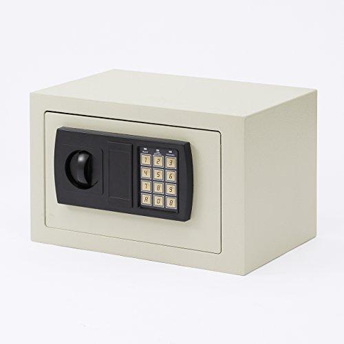 イーサプライ 電子金庫 小型 家庭用 テンキー 鍵式 壁掛け対応 9.9リットル マイナンバー 印鑑 通帳 貴重品 セキュリティ—対策 EZ2-SL038GY