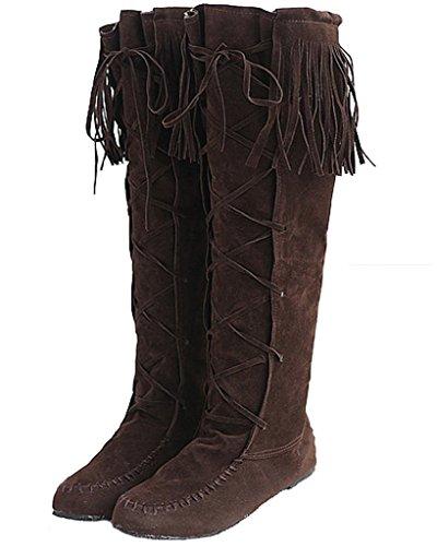 Minetom Damen Herbst Winter Elegant Lange Stiefel Beiläufig Flache Ferse Stiefel Quaste Schnüren Stiefel Braun EU 39