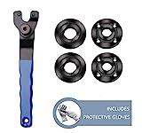 Grinder Wrench Grinder Shaft Nut 5/8-11 4 Pcs Compatible with Makita Milwaukee Dewalt Metabo Grinder Parts Bosch Ryobi Black Decker 4.5' 5' Protective Gloves Included