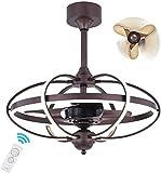 DAGCOT Industria de techo Ventilador retro moderno Luz Led Ventilador de techo con luz Sala Comedor Dormitorio decorativo Ventilador Iluminación lámpara de la lámpara del ventilador