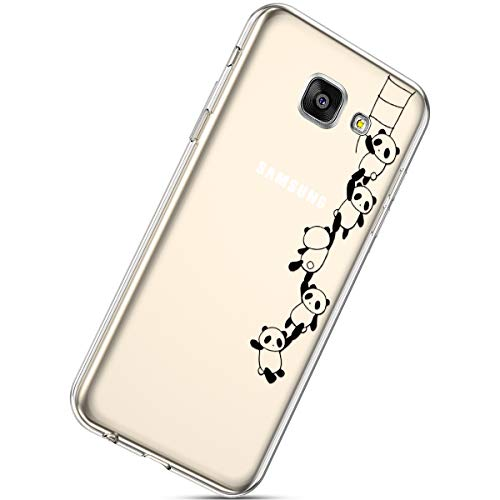 Herbests Cover Galaxy A5 2016, Case Galaxy A5 2016 Flessibile Morbida Gel Silicone Custodia Ultra Slim Colorate Carino Dipinto Crystal Clear TPU Silicone Case,Panda