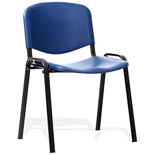 Sedia impilabile iso delle sedie dell'ufficio di giorno successivo poli struttura nera blu senza braccia