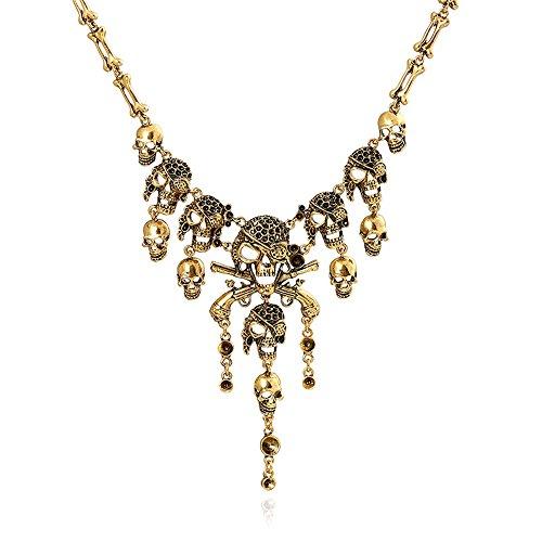 BigDO Jewelry Fashion Multi-Level Pirate Skull Tassel Charm Necklace Collar Bib for Women