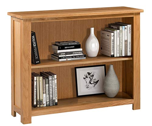 Hallowood Waverly Wide and Low Bookcase with Adjustable Shelf in Light Oak Finish & Ample Storage Space-Ready Assembled Wooden Bookshelves, WAV-BOK1000