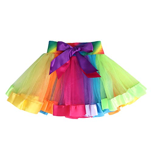 TENDYCOCO Mädchen Regenbogen Farbe Mesh Tutu Rock Bogen Dekorieren Kinder Tanzen Rock Kids Performance Rock Größe M