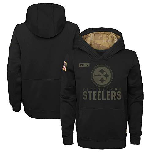 Herren Langarmpullover Hoodie Steelers American Football Trikot, Sportswear Rugby Jersey Fan Pullover Outdoor Jumpe-Black-XXL