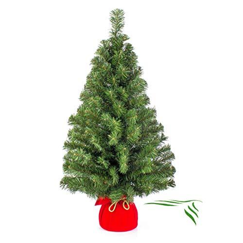 artplants.de Mini Weihnachtsbaum WARSCHAU, grün, rot, 90cm, Ø 50cm - Plastik Tannenbaum