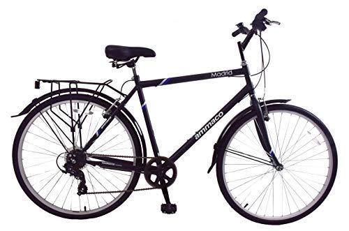Ammaco Madrid 700c Mens Hybrid City Bike 7 Speed Carrier Rack, Kickstand & Mudguards Black 23' Frame