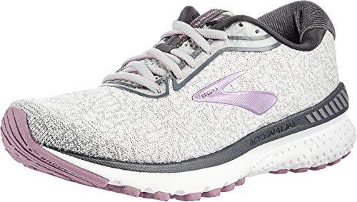 Brooks Womens Adrenaline GTS 20 Running Shoe - Grey/White/Valerian - B - 5