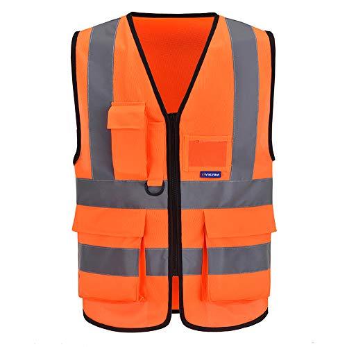 AYKRM Gilet Tecnica da Lavoro Antinfortunistici Alta visibilità (Arancione, L)