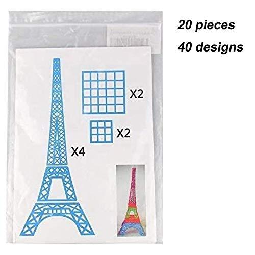 3D Pen Schablonen,3D Pen Stencils 3D Drucker Stift Papier Stencils/ 20 Seiten Verschiedene Papier Patterns/ New Design Papier Formen für 3D Druck Feder,3D-Zeichnungs Feder und 3D Gekritzel Feder/ 3D-Modellbau Arts & Crafts Zeichnung/ Bunte 3D Druckmuster. - 8