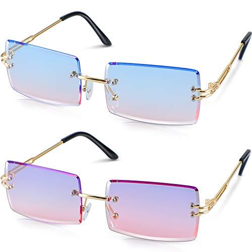 Dcola Mode Vintage Randlose Sonnenbrille für Frauen Männer, 2 Paar Rechteck Gradient Lens Rimless Eyewear UV400 Quadratische Durchsichtige Sonnenbrille