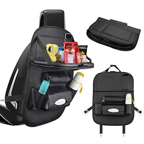 CNXUS Auto Rückenlehnenschutz, Multifunktionale Autositz Organizer für Kinder, Große Taschen und iPad-/Tablet-Fach, Wasserdicht Autositzschoner, Kick-Matten-Schutz für Autositz(1Stück)