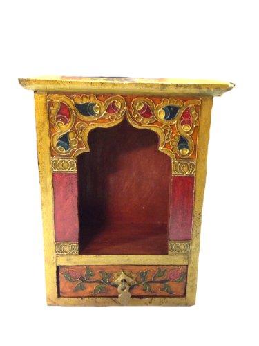 Altar - Tischaltar - mit Schublade aus Holz - handgefertigt im Antik-Stil - 16,5x22x14 cm