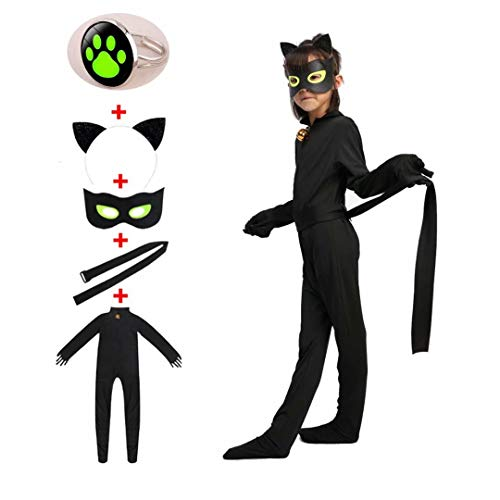 Kids Black Cat Costume Set - Boy Girl Child Halloween Role Cosplay Jumpsuit with Adjustable Ring