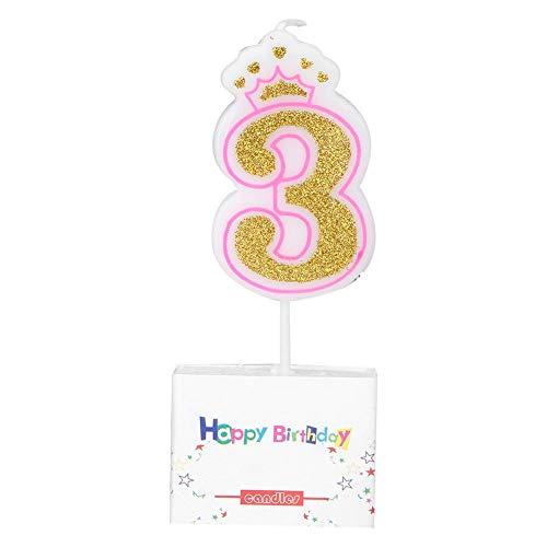 Cafopgrill Candela Numero, New Girls Bambini Compleanno Candela Festa Corona Fumo Candele per Torta Numeri età 0-8(3)
