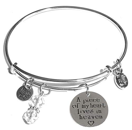 Women's Stainless Steel Message Charm Expandable Wire Bangle Bracelet, Very Popular and Stylish, Arrives in a Gift Box. (A Piece Of My Heart Lives In Heaven)