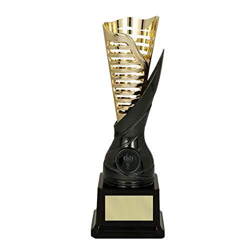 RaRu Extravaganter Poker-Pokal (Flamme goldgrau) mit Ihrer Wunschgravur + 3 Sticker