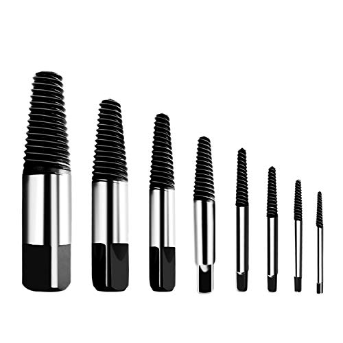 """Hakkin 8 Pcs Damaged and Stripped Screw Extractor Set, 1/8""""- 3/4"""" Broken Bolt Extractor and Broken Water Pipe Remover Set, Ideal Left Hand Spiral Removal Tool Kit with Storage Case"""